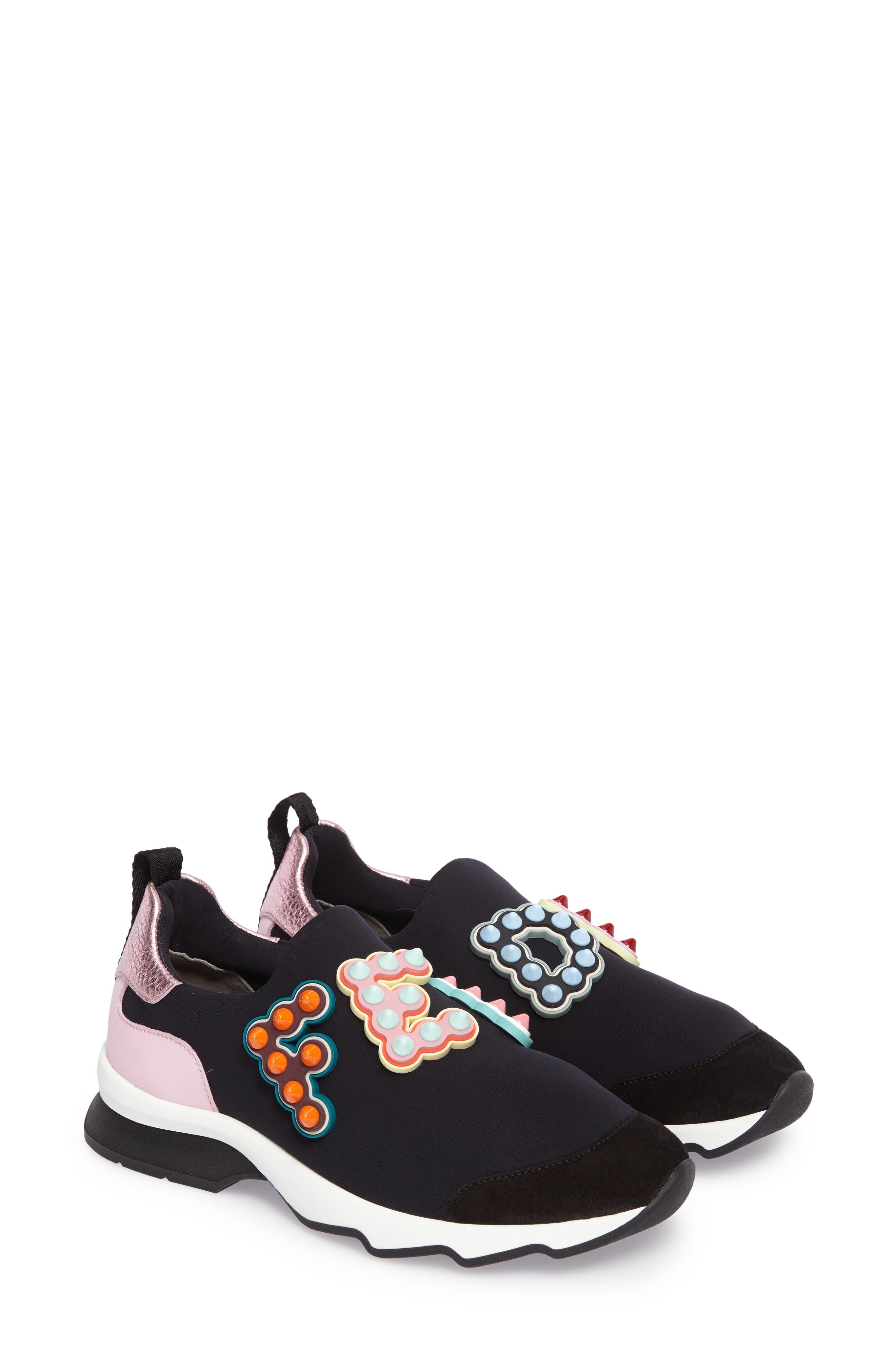 fendi slip on logo sneakers