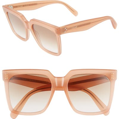 Celine 55Mm Gradient Square Sunglasses - Shiny Pink/ Gradient Brown