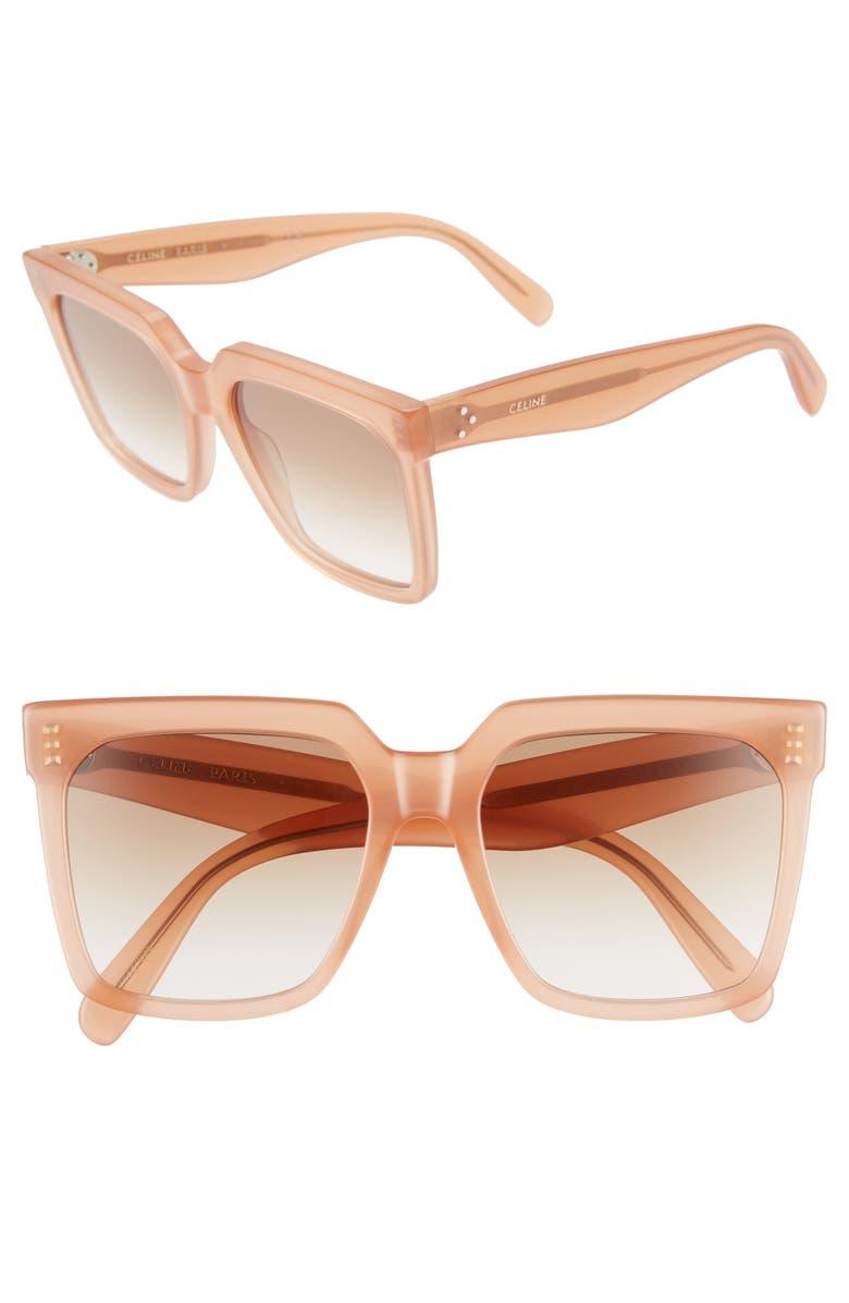 CELINE 55mm Gradient Square Sunglasses, Main, color, SHINY PINK/ GRADIENT BROWN