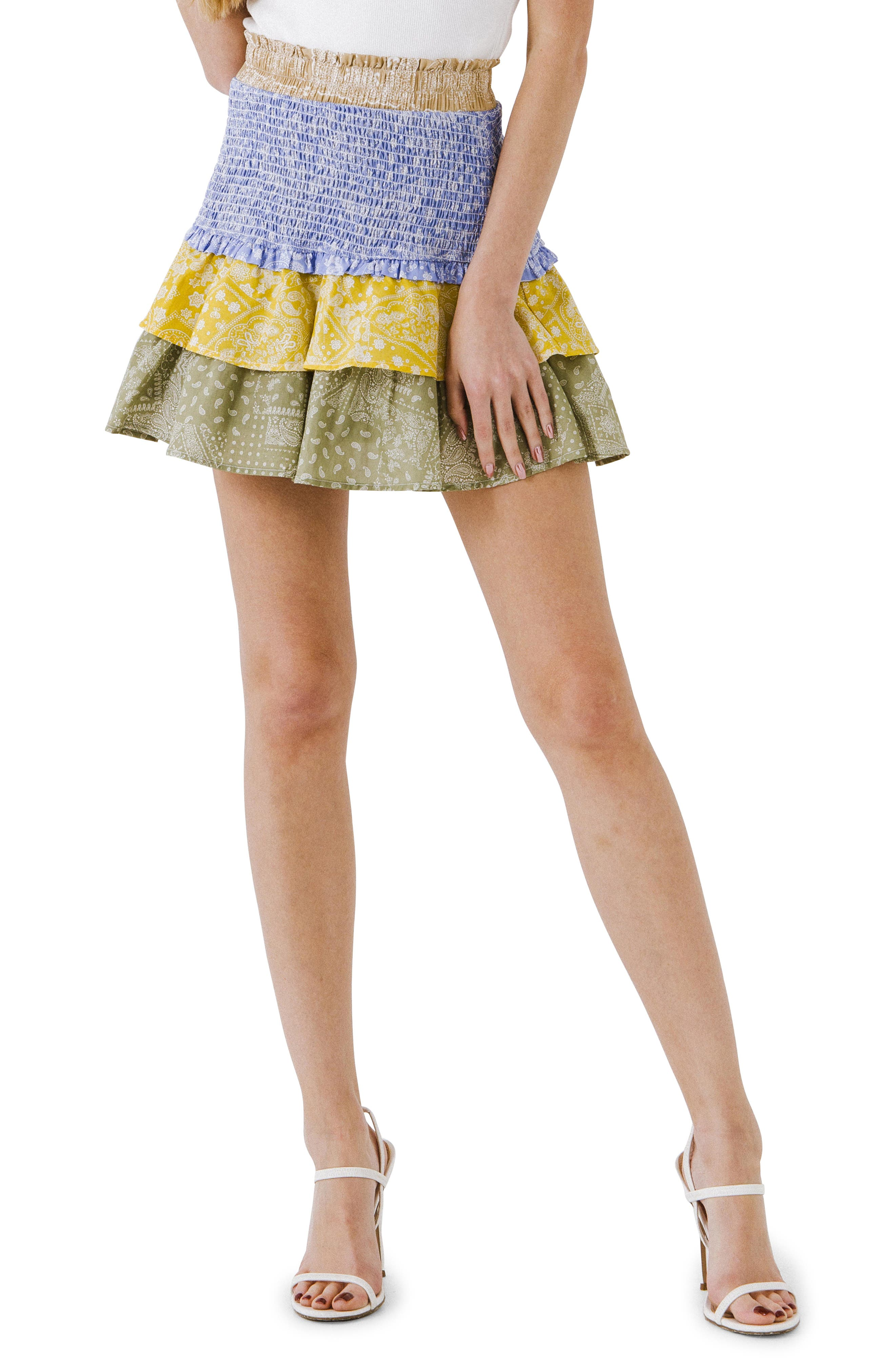 Paisley Colorblock Miniskirt
