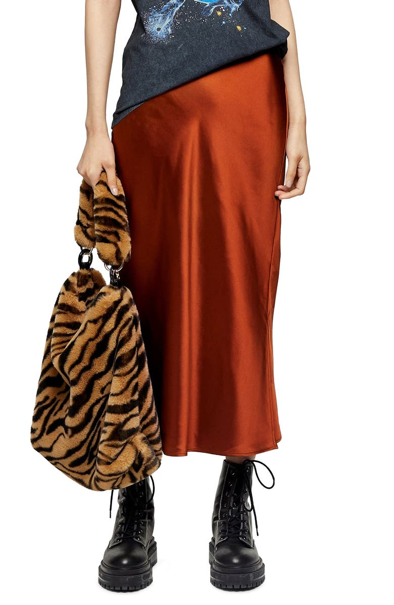 TOPSHOP Slit Bias Cut Satin Midi Skirt, Main, color, RUST