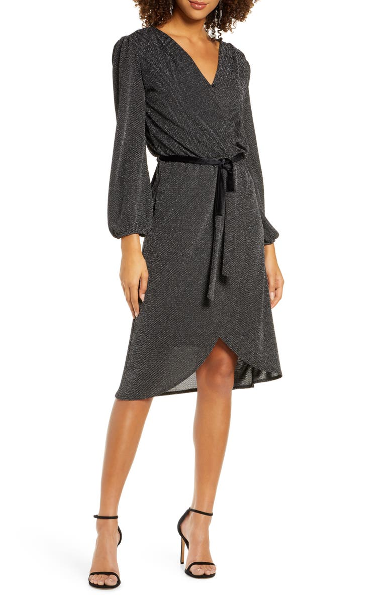 FRAICHE BY J Glitter Long Sleeve Faux Wrap Dress, Main, color, BLACK