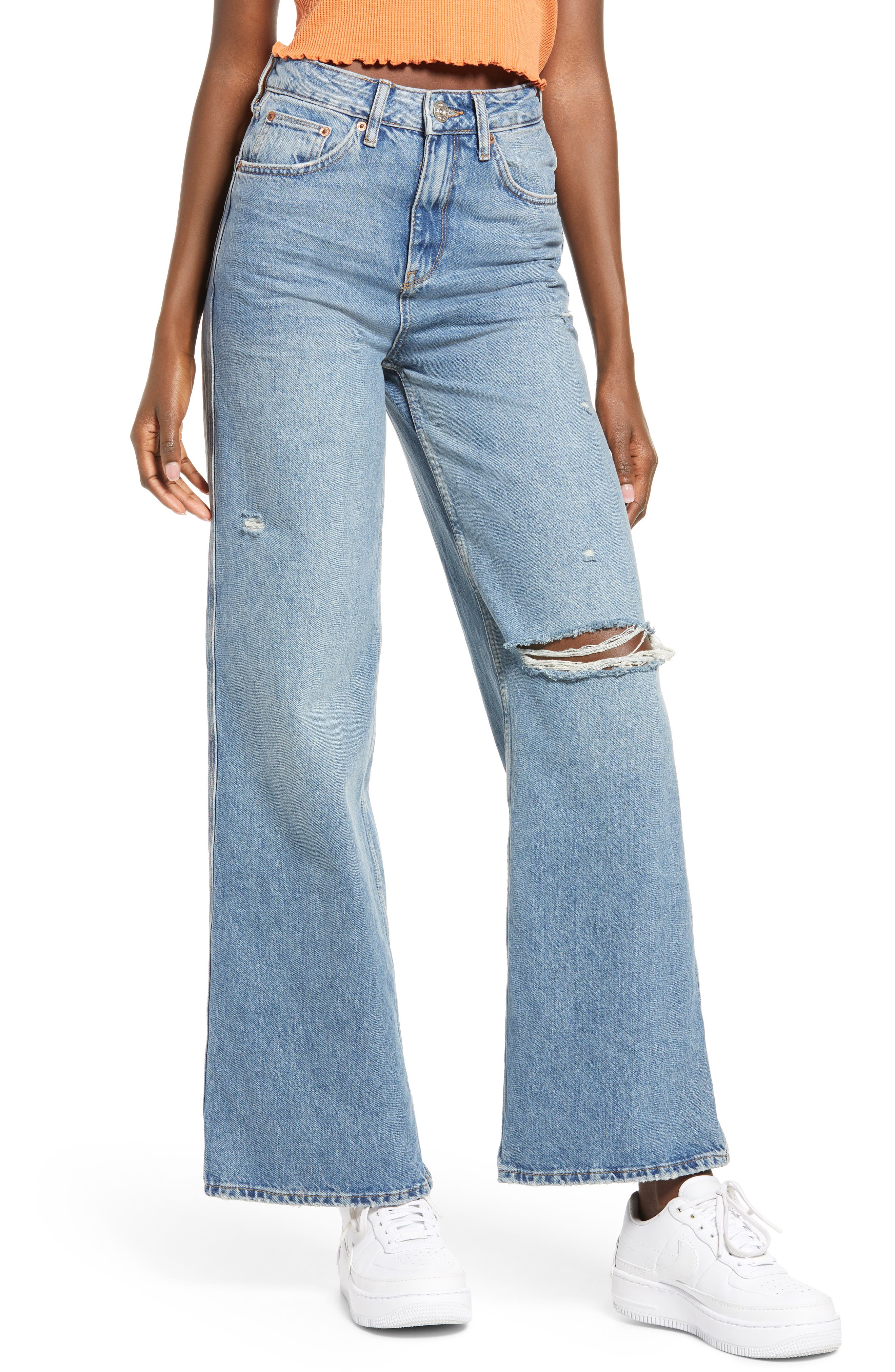 Ripped Super High Waist Puddle Jeans