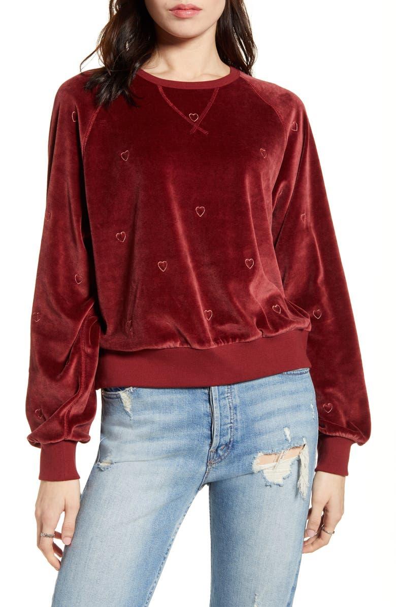 RAILS Mika Heart Embroidery Velvet Sweatshirt, Main, color, 650