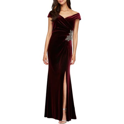 Alex Evenings Off The Shoulder Velvet Gown, 8 (similar to 1) - Red