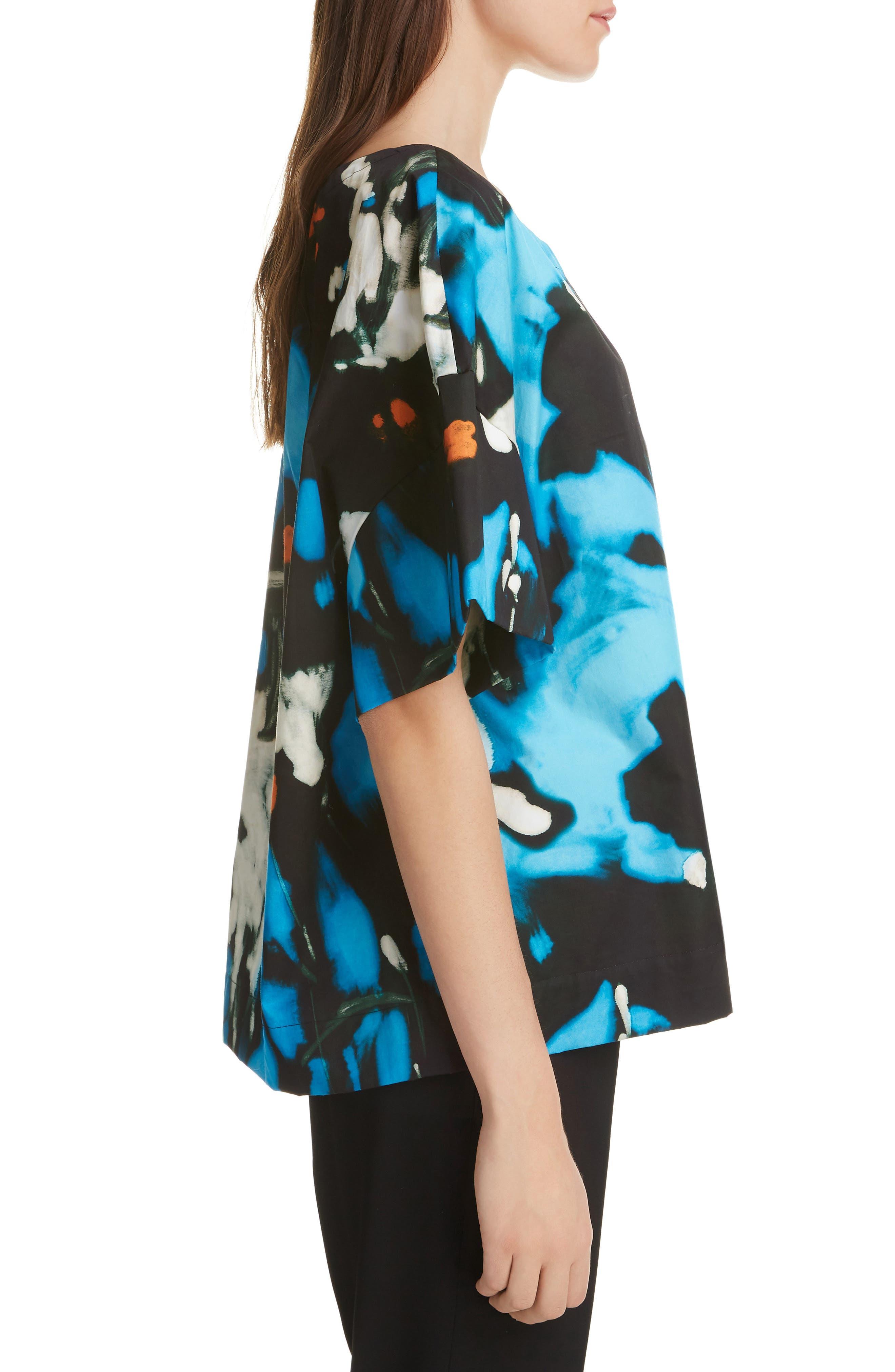 ,                             Cobala Floral Print Cotton Top,                             Alternate thumbnail 3, color,                             BLUE