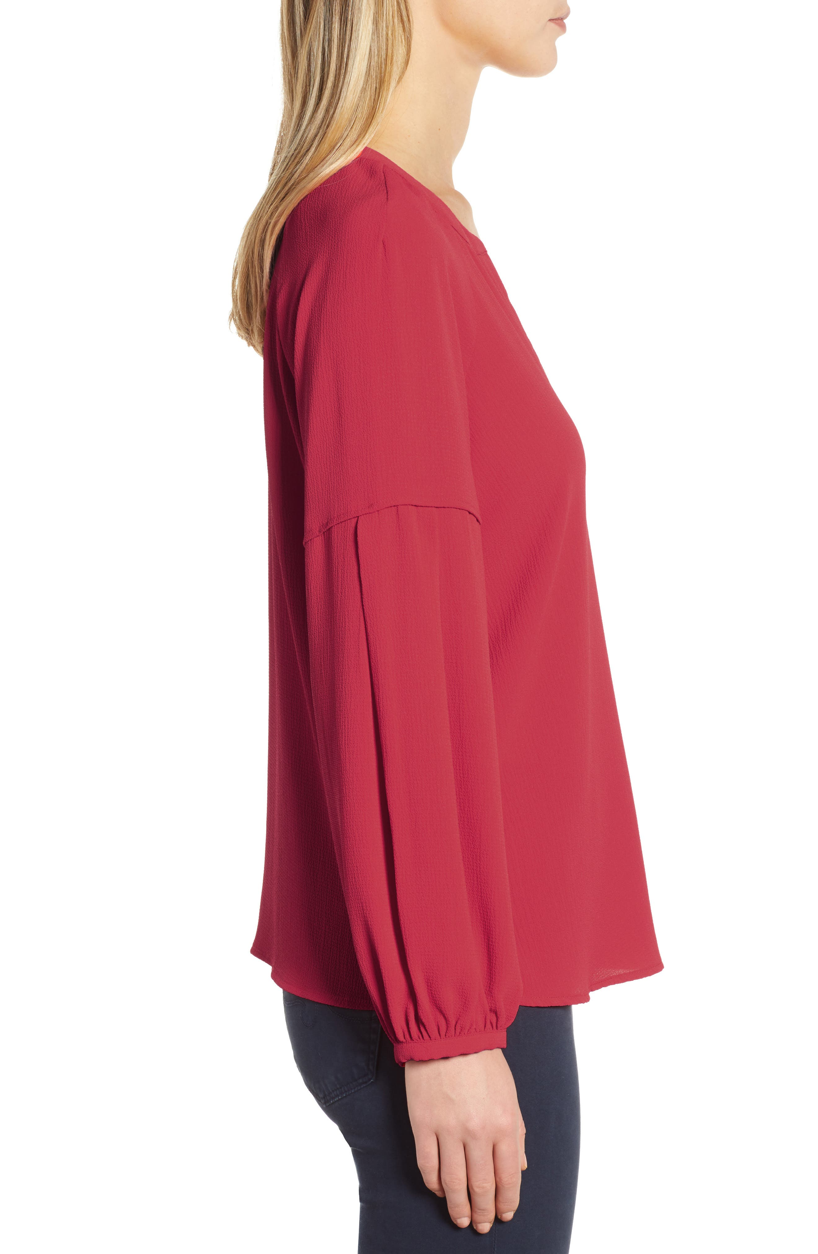 ,                             Bubble Sleeve Crepe Blouse,                             Alternate thumbnail 3, color,                             TROPICAL RED