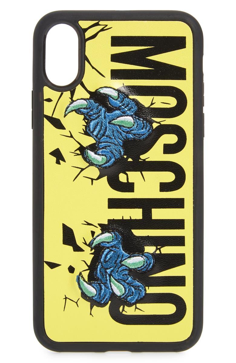 MOSCHINO Logo iPhone X & Xs Max Case, Main, color, FANTASY PRINT YELLOW