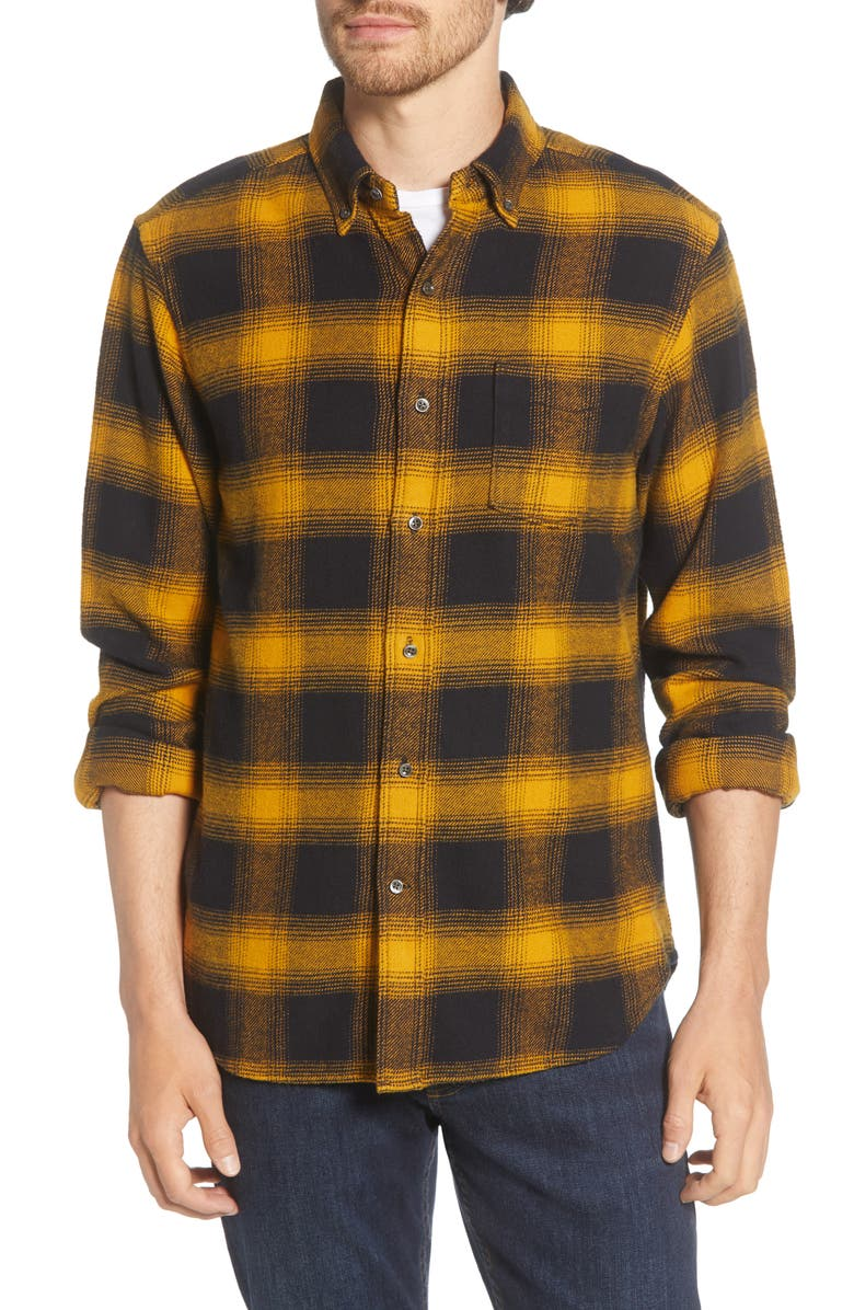 ALEX MILL Regular Fit Button-Down Flannel Shirt, Main, color, YELLOW BLACK
