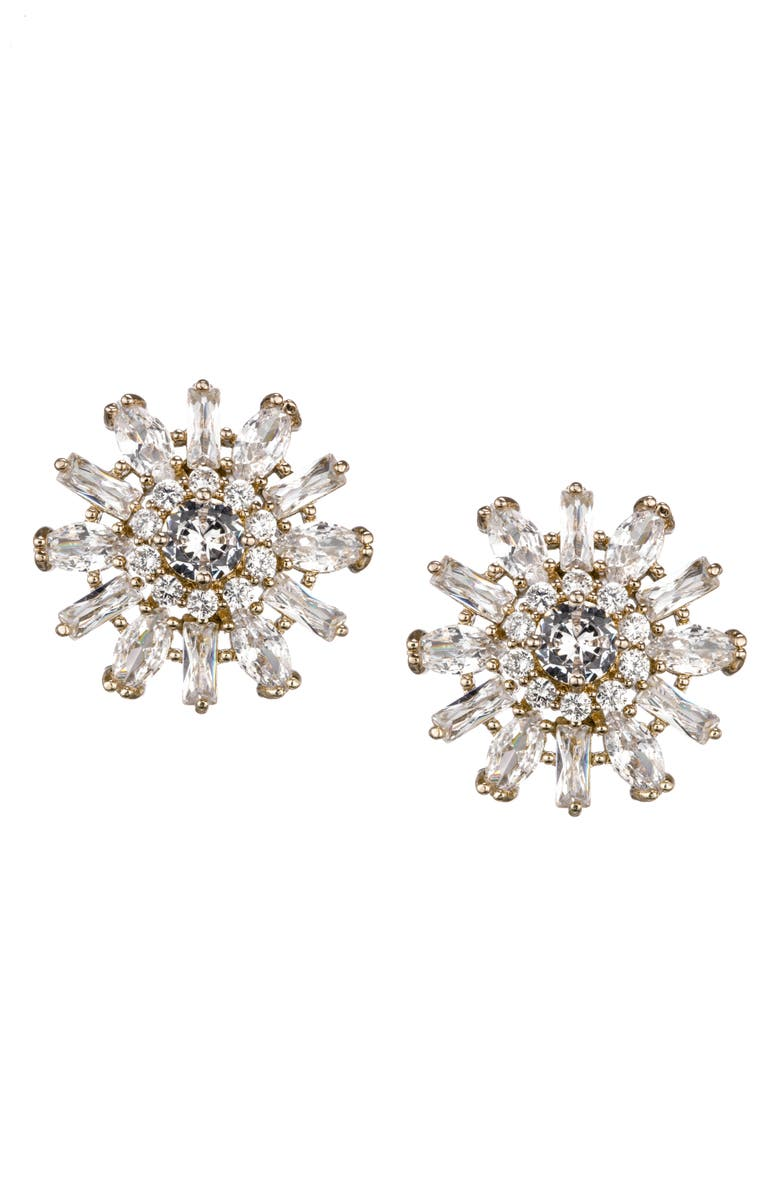 NINA Floral Geometric Crystal Earrings, Main, color, GOLD/ WHITE CZ