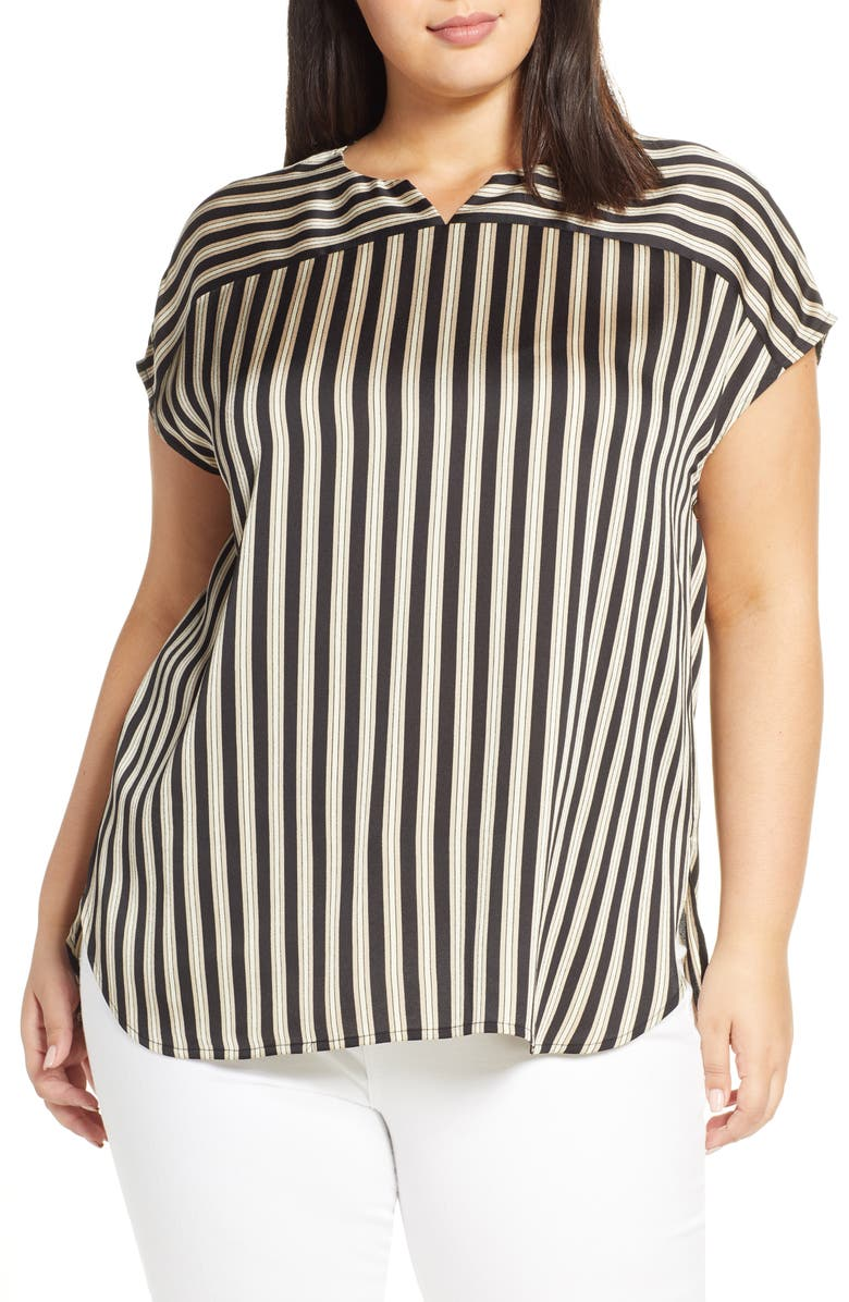 Vince Camuto Split Neck Stripe Top Plus Size