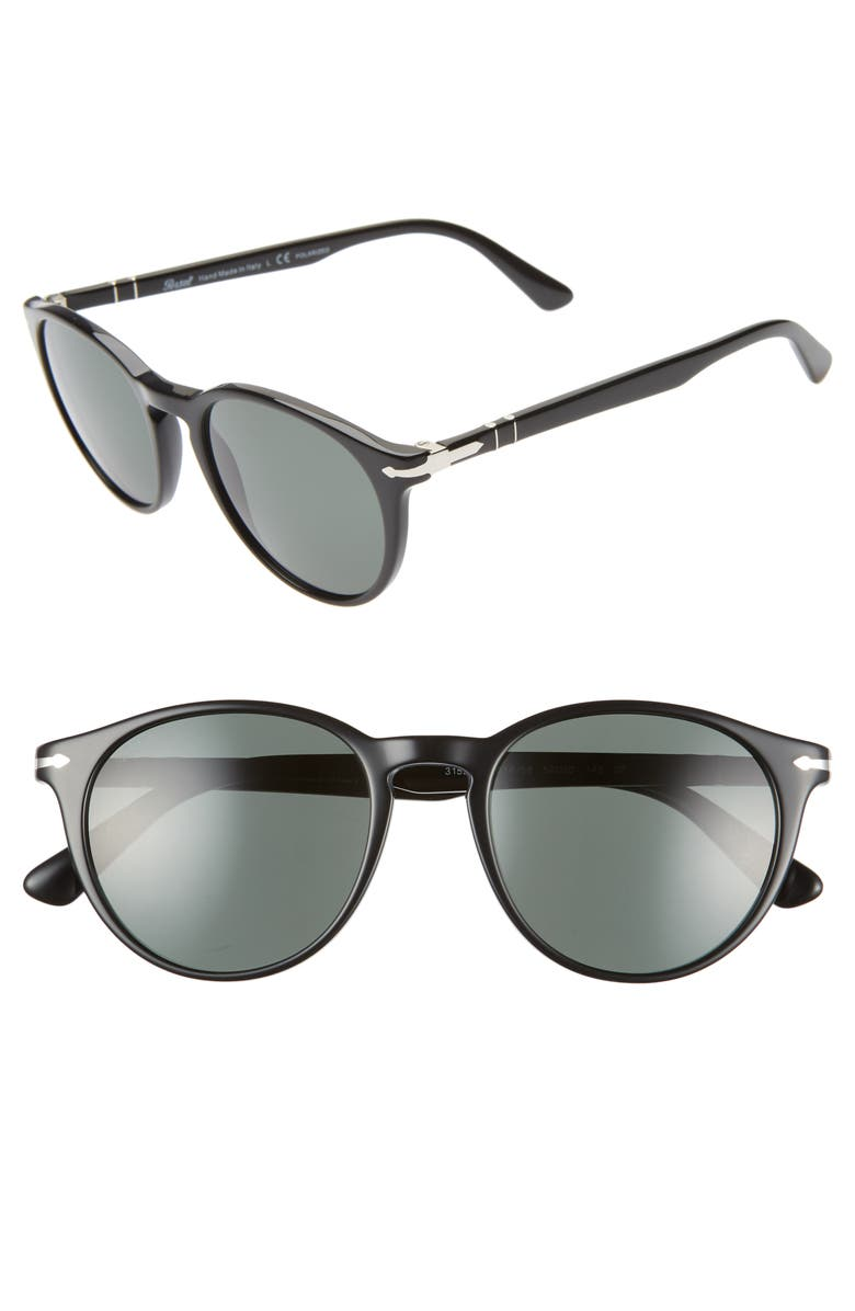 PERSOL 52mm Polarized Round Sunglasses, Main, color, GREEN/ GREY