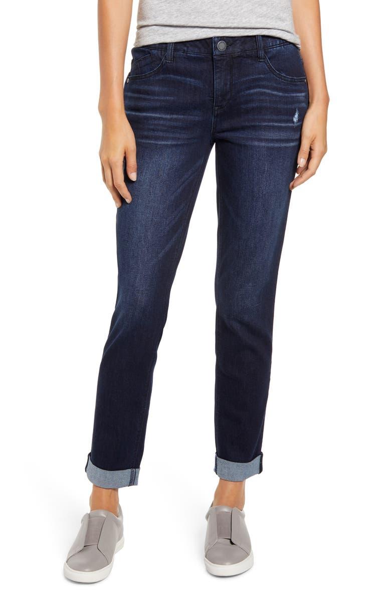 WIT & WISDOM Ab-Solution Cuffed Girlfriend Jeans, Main, color, INDIGO