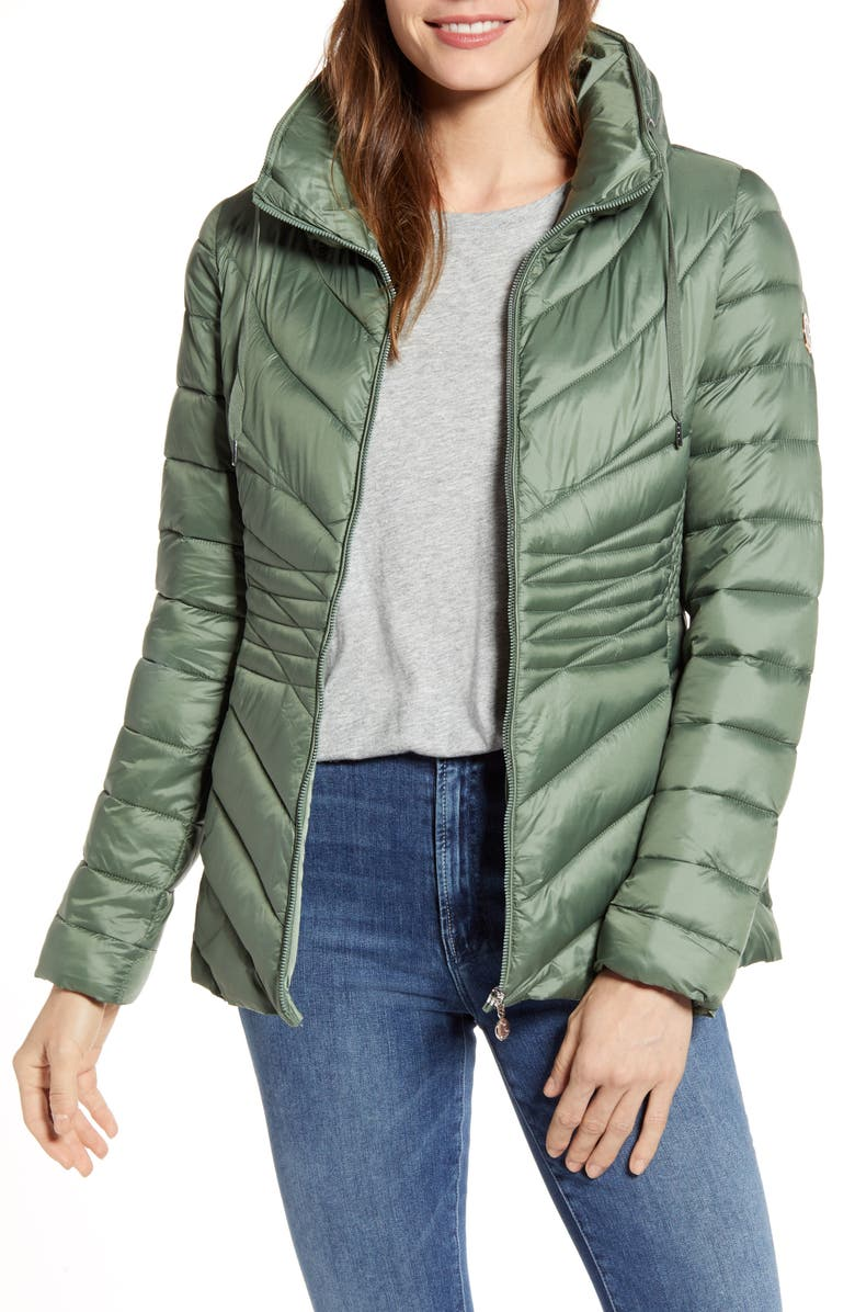 BERNARDO Packable EcoPlume Puffer Jacket, Main, color, MISS BASIL