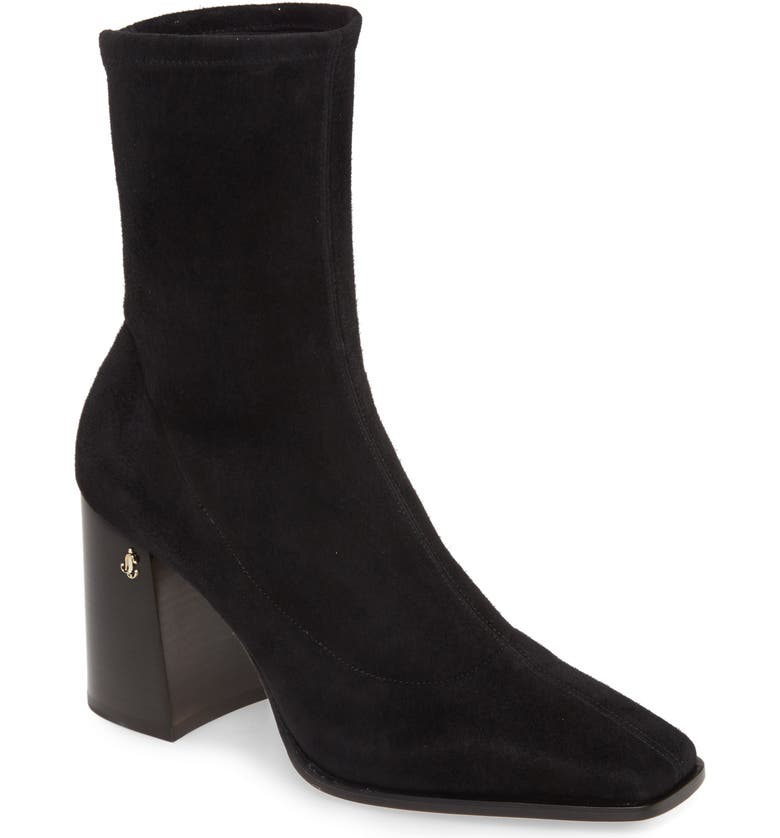 JIMMY CHOO Bryelle Stretch Suede Ankle Boot, Main, color, BLACK