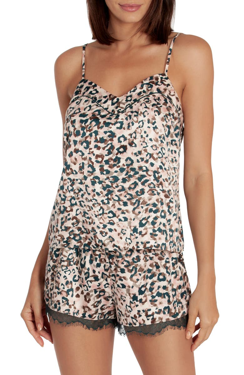 MIDNIGHT BAKERY Animal Print Short Satin Pajamas, Main, color, 250