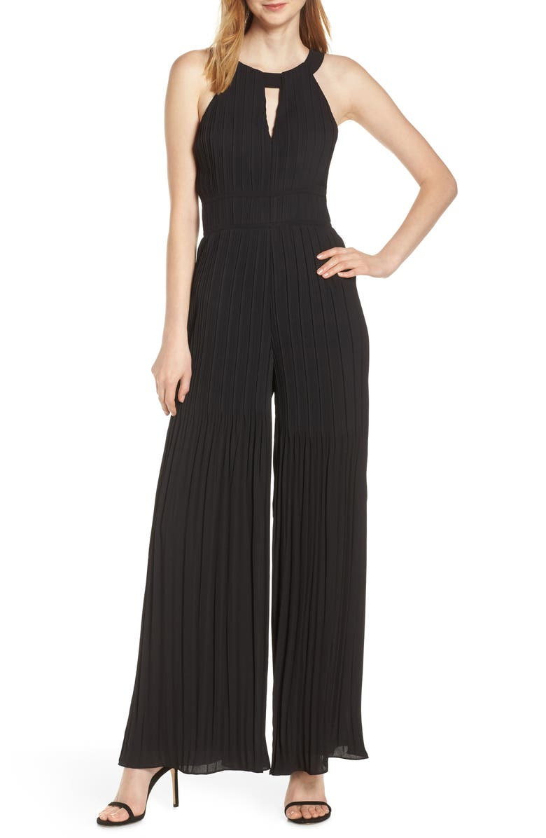 HARLYN Pleated Wide Leg Jumpsuit, Main, color, 001