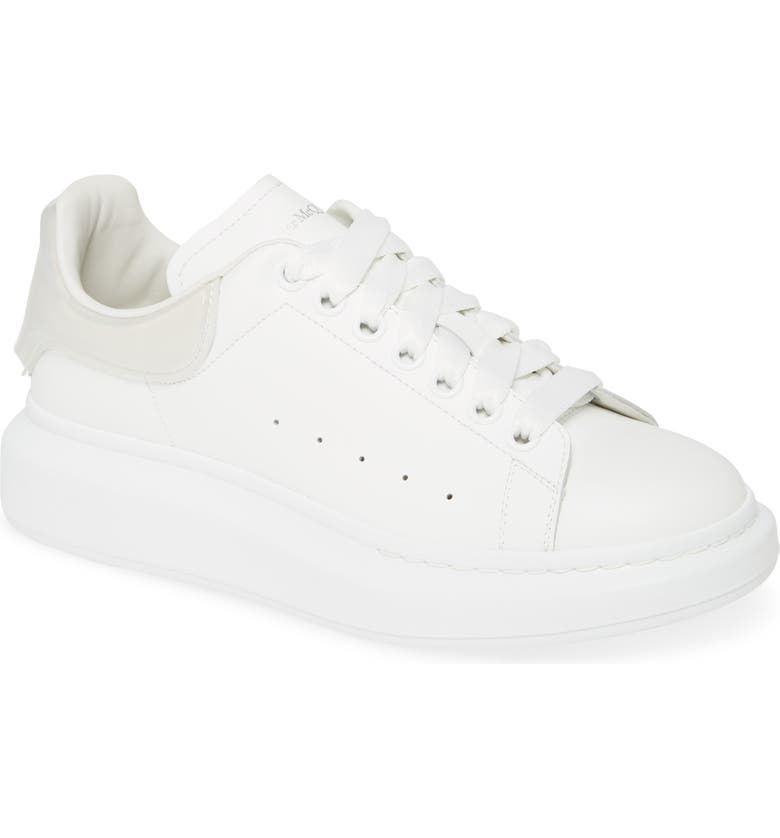 ALEXANDER MCQUEEN Oversize Low Top Sneaker, Main, color, WHITE/ WHITE/ TRANSPARENT