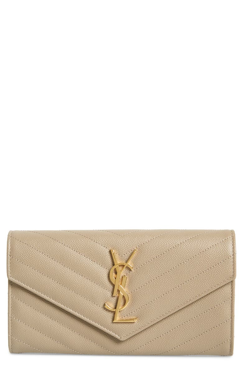 SAINT LAURENT Monogram Logo Leather Flap Wallet, Main, color, DUSTY GREY