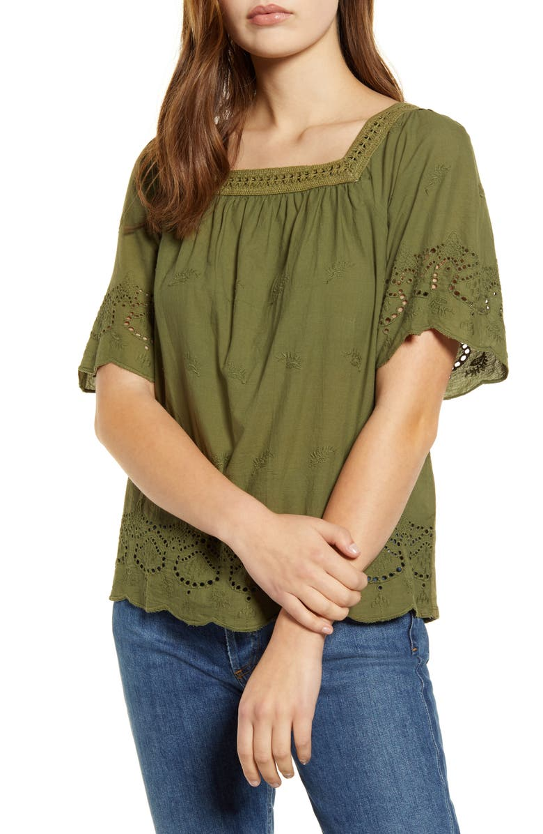 LUCKY BRAND Eyelet Peasant Top, Main, color, OLIVINE