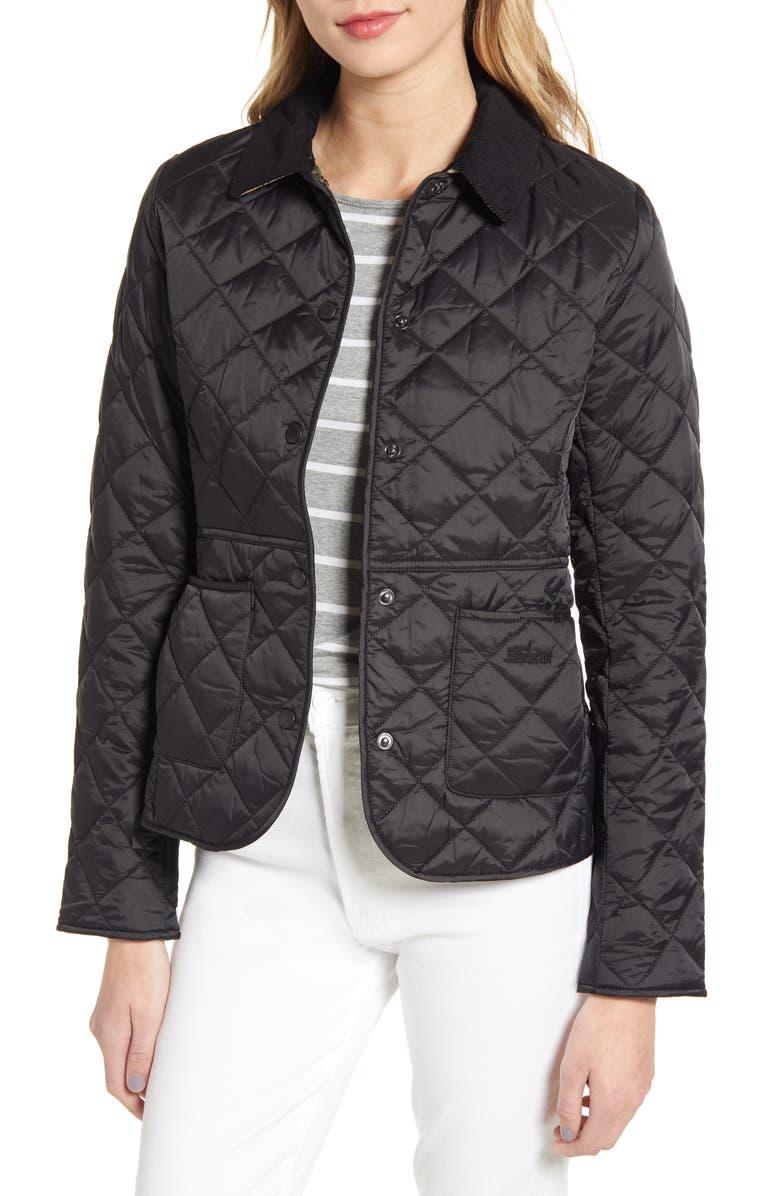 BARBOUR Deveron Diamond Quilted Jacket, Main, color, BLACK/OLIVE