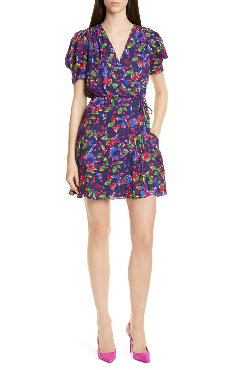 SALONI Lea Print Silk Wrap Minidress, Main, color, INDIGO CARLOTTA