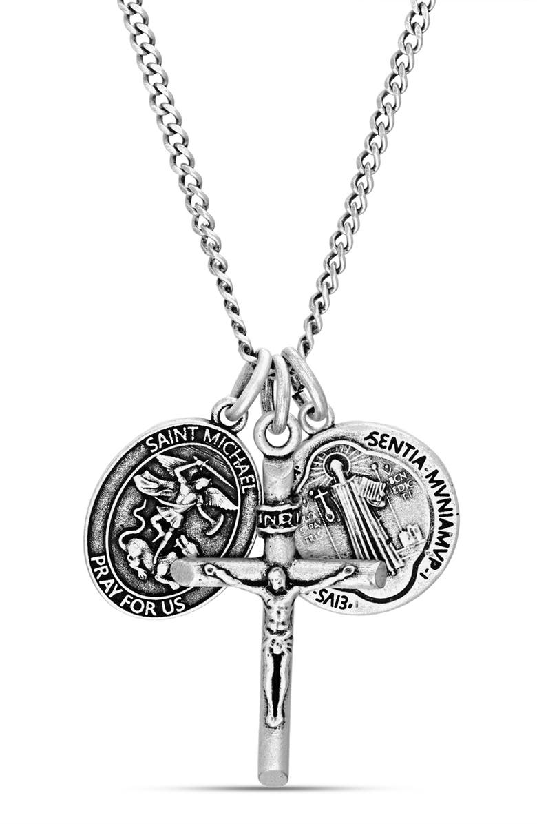 STEVE MADDEN Double Coin Crucifix Pendant Necklace, Main, color, METALLIC SILVER