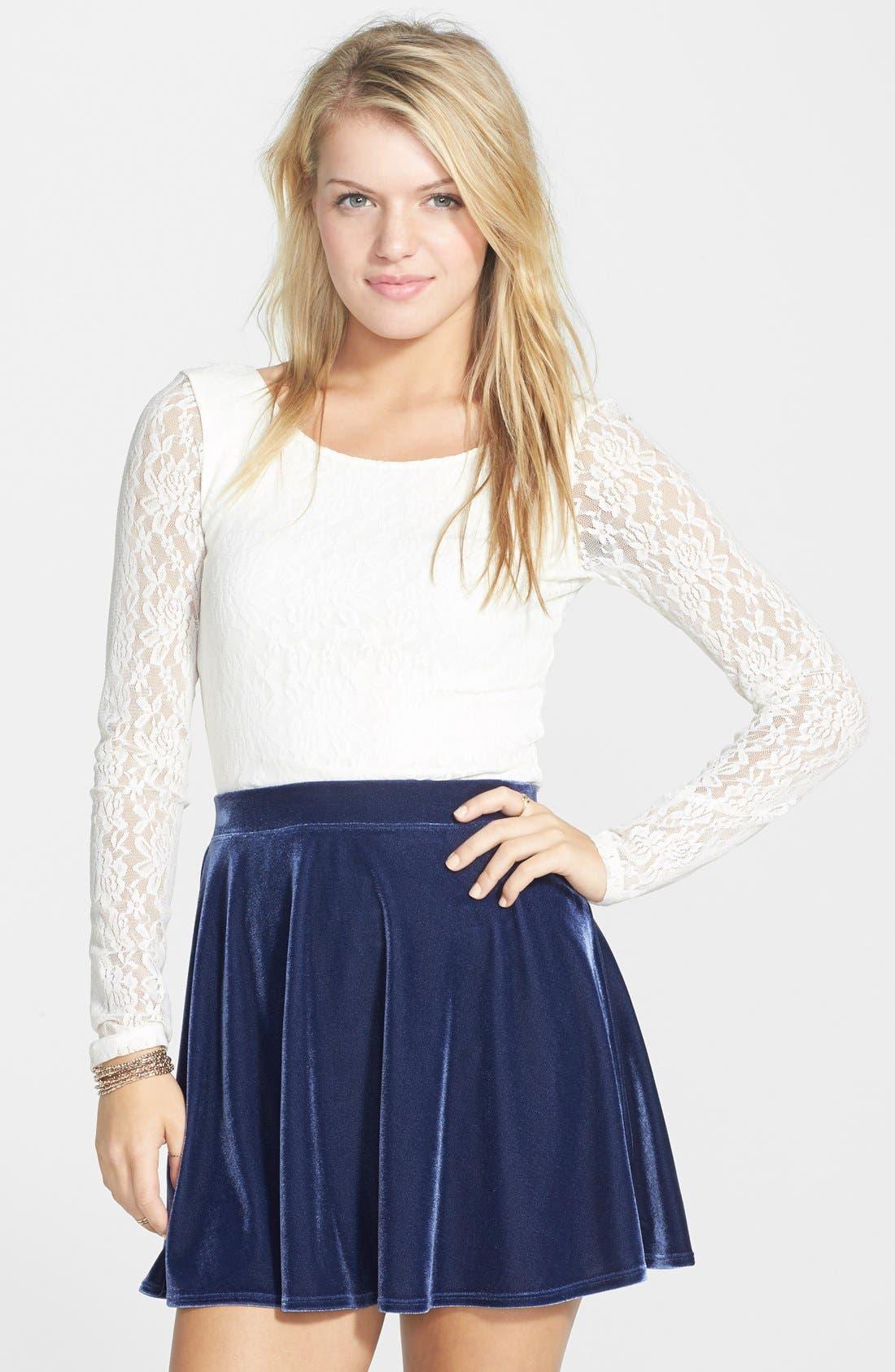 ,                             Velour Skater Skirt,                             Main thumbnail 4, color,                             410