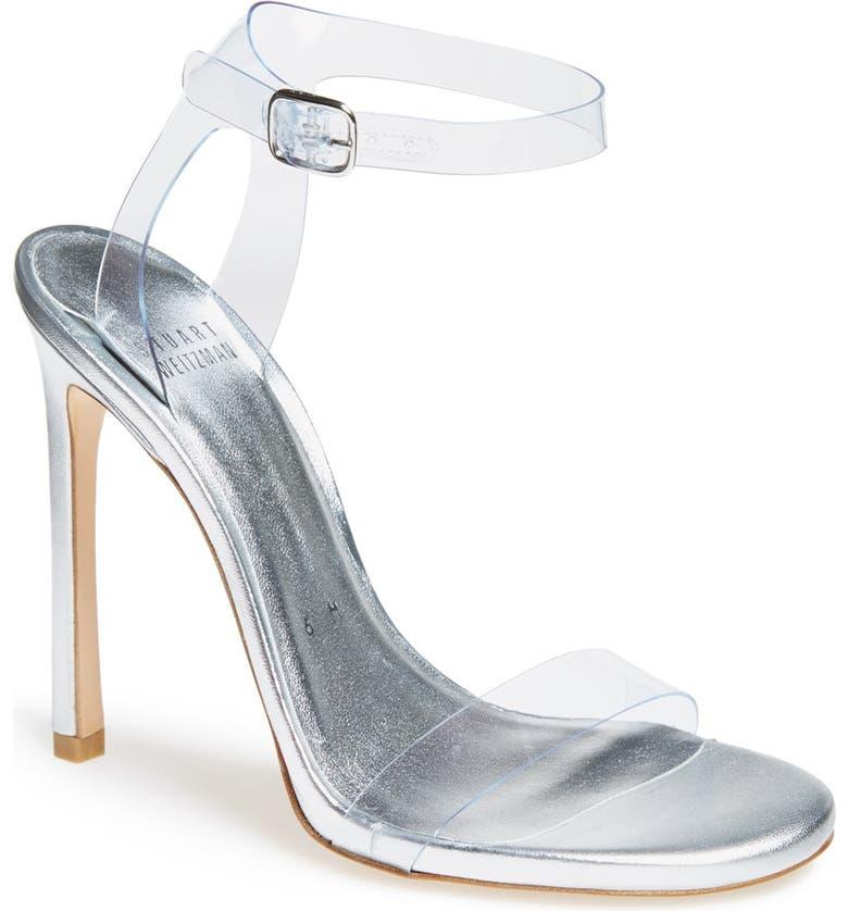 STUART WEITZMAN 'Bareitall' Translucent Strap Sandal, Main, color, 110