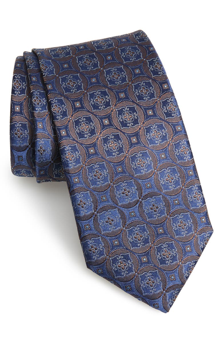 CANALI Medallion Silk Tie, Main, color, DARK BROWN