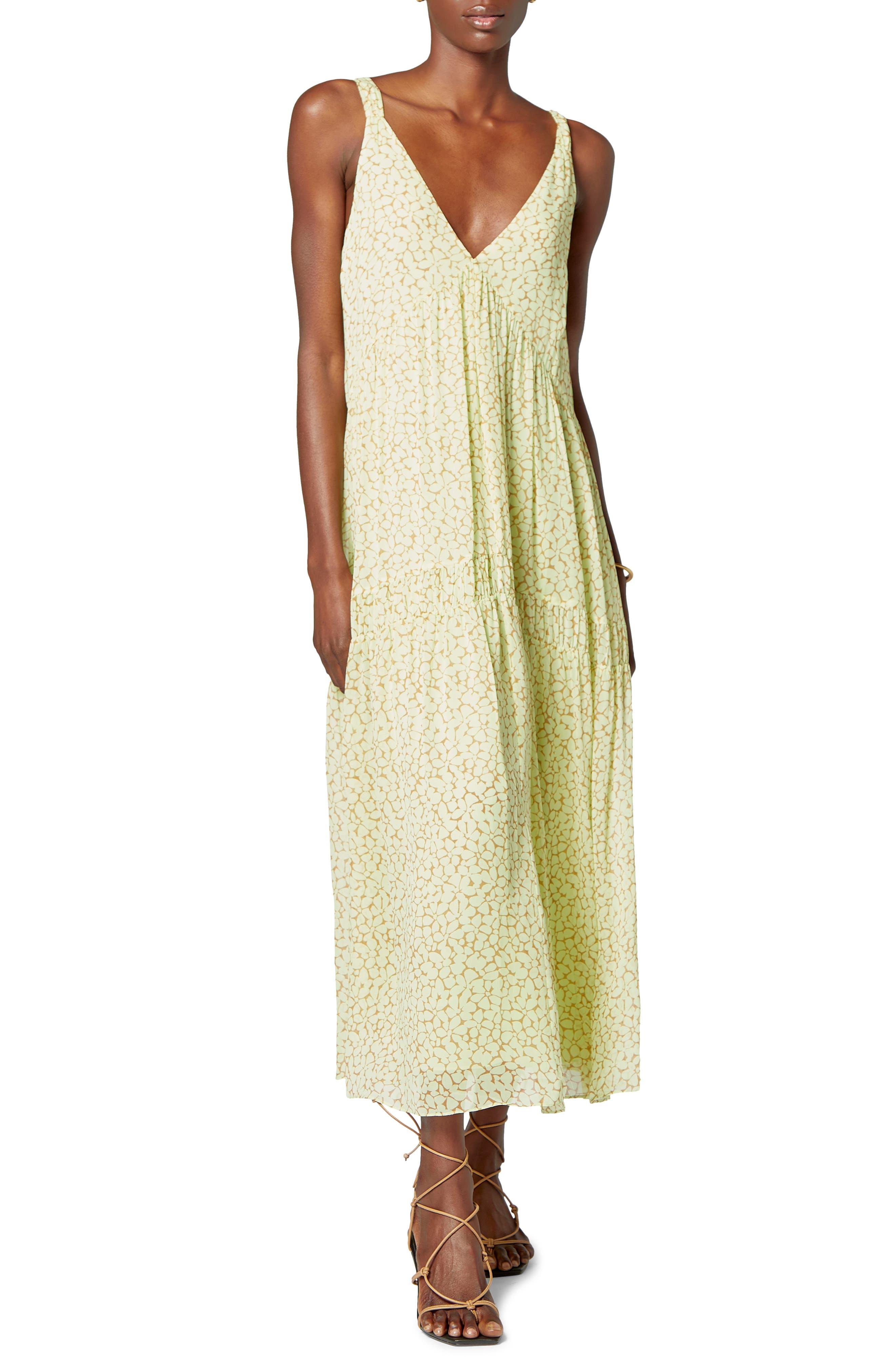 Bondi Woodcut Floral Print Silk Maxi Dress