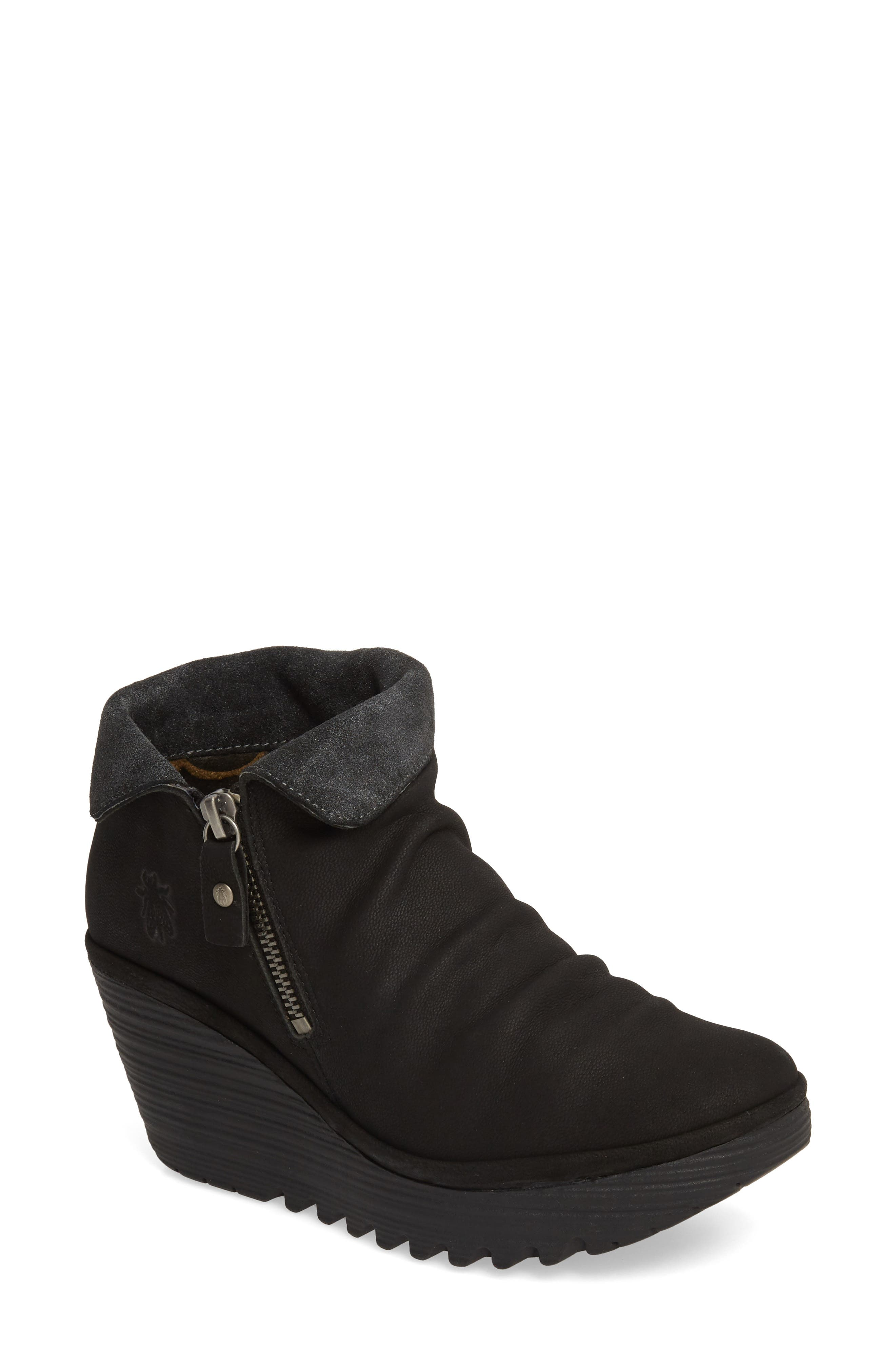 Fly London Yoxi Wedge Bootie - Black