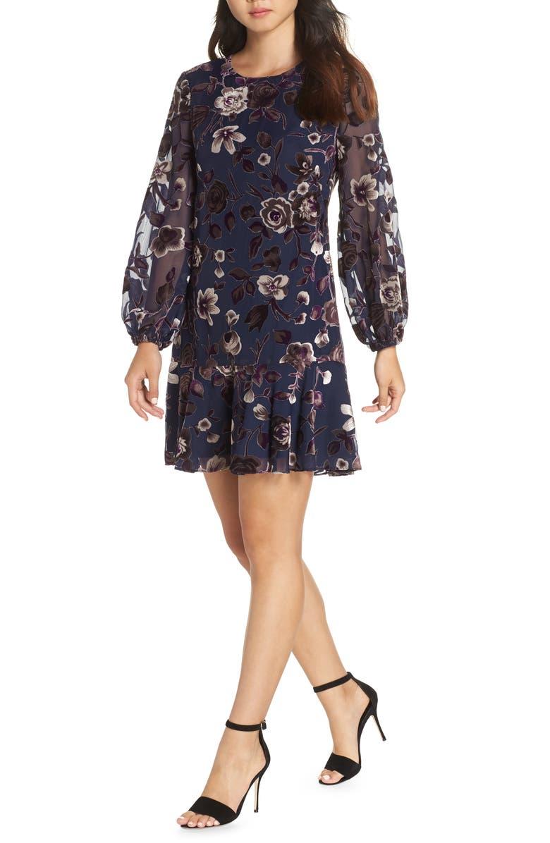 ELIZA J Floral Chiffon Shift Dress, Main, color, 410
