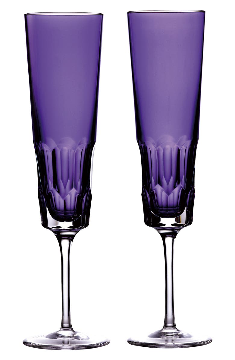 WATERFORD Jeff Leatham Icon Amethyst Set of 2 Lead Crystal Flutes, Main, color, 500