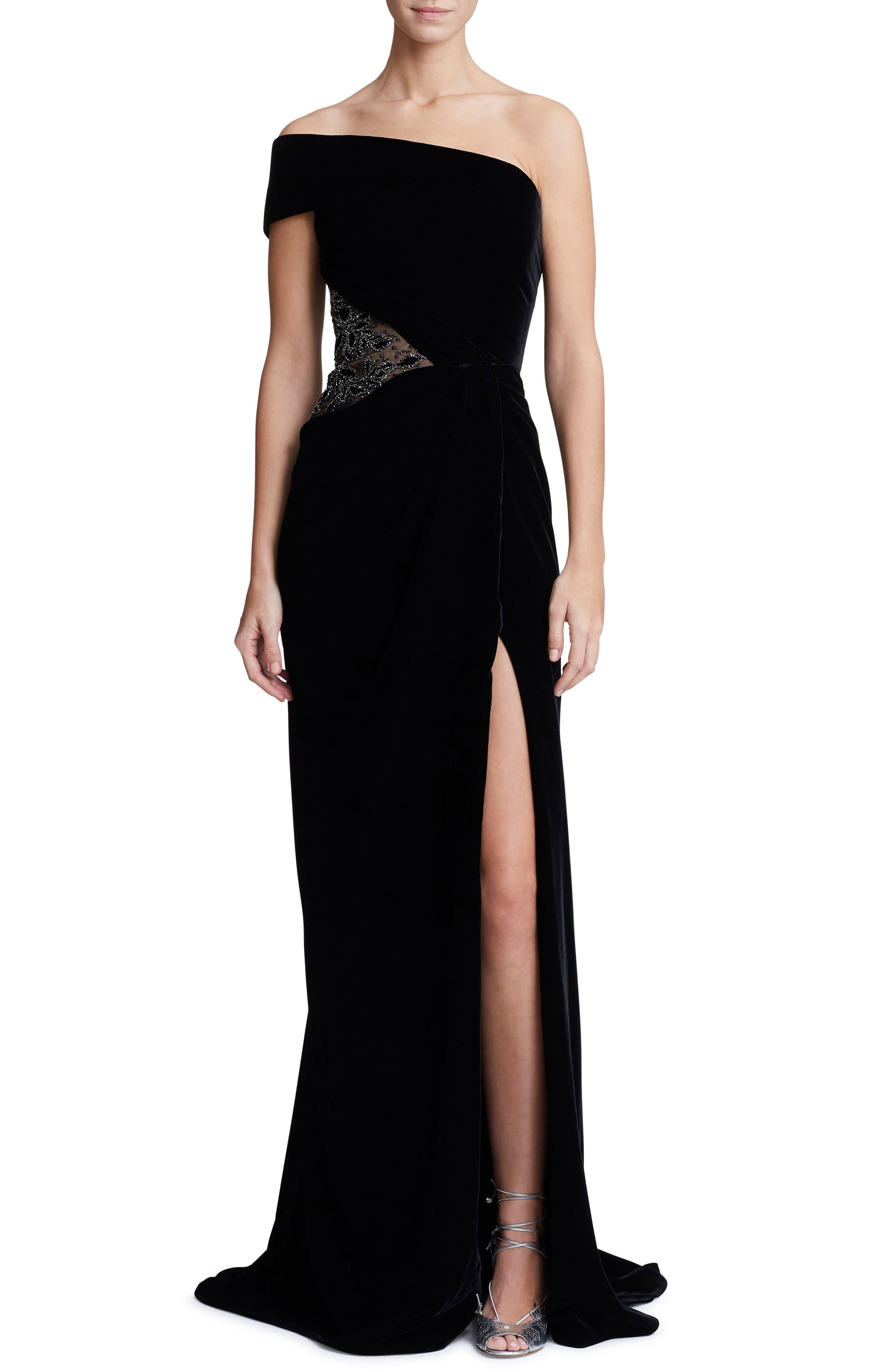 Marchesa One-Shoulder Velvet Gown, Black
