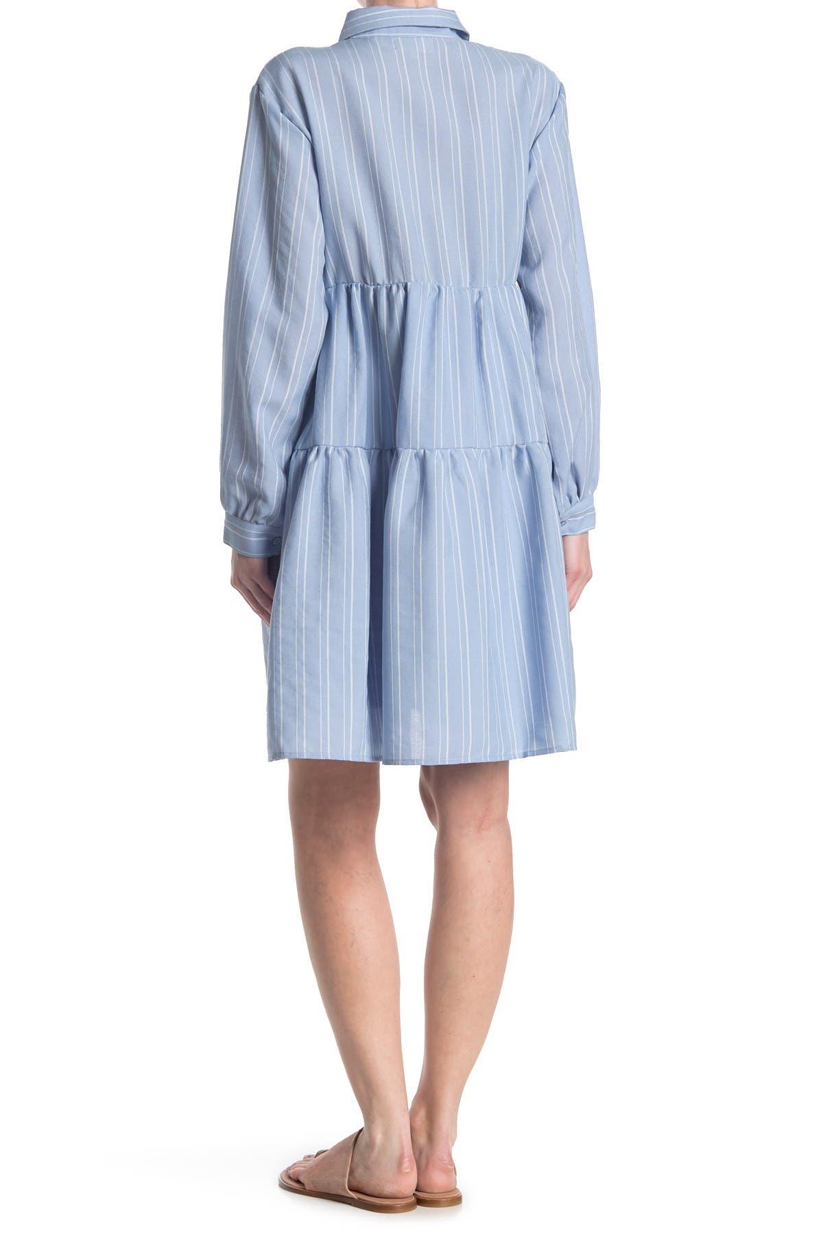 Melloday Long Sleeve Babydoll Dress In Medium Blue