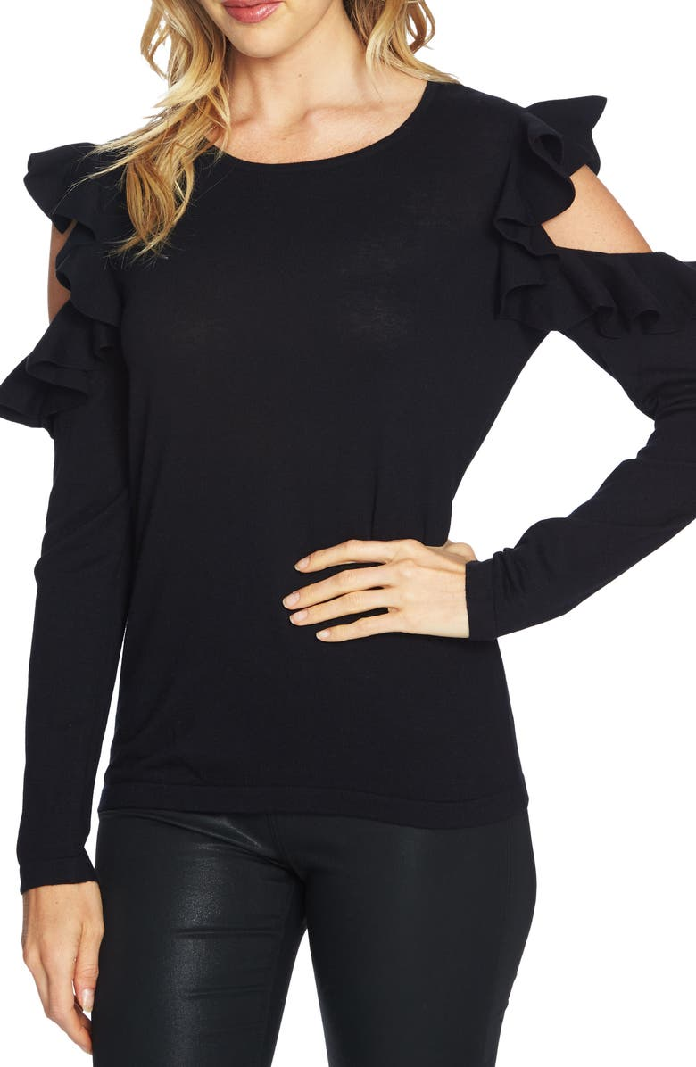 CECE Ruffled Cold Shoulder Sweater, Main, color, 001