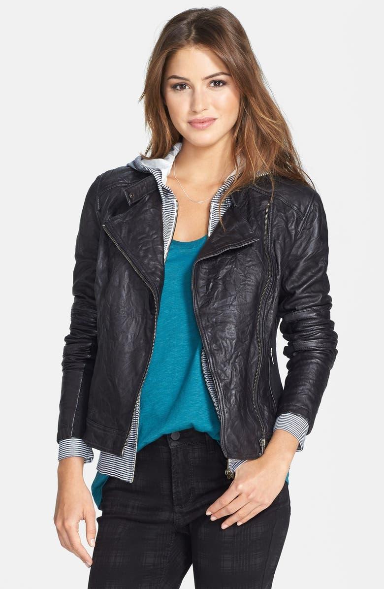 CASLON<SUP>®</SUP> Rumpled Leather Moto Jacket, Main, color, 001