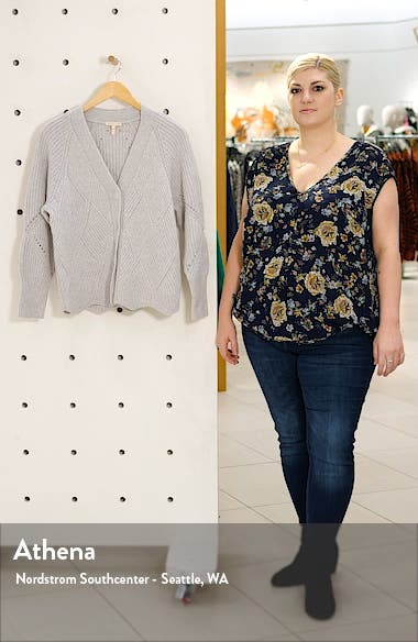 Basket Weave Ribbed Pointelle Knit Cardigan, sales video thumbnail