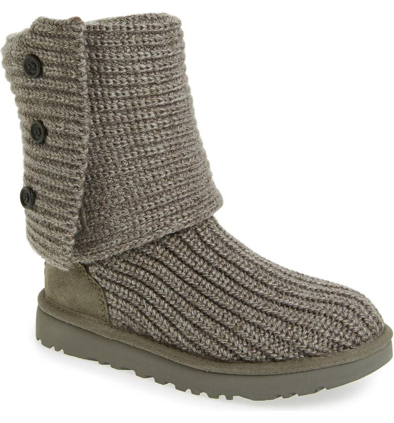 UGG<SUP>®</SUP> Classic Cardy II Knit Boot, Main, color, GREY FABRIC