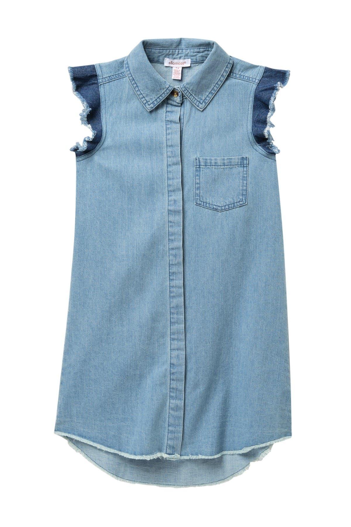 Image of Ella Moss Flutter Denim Shirt Dress