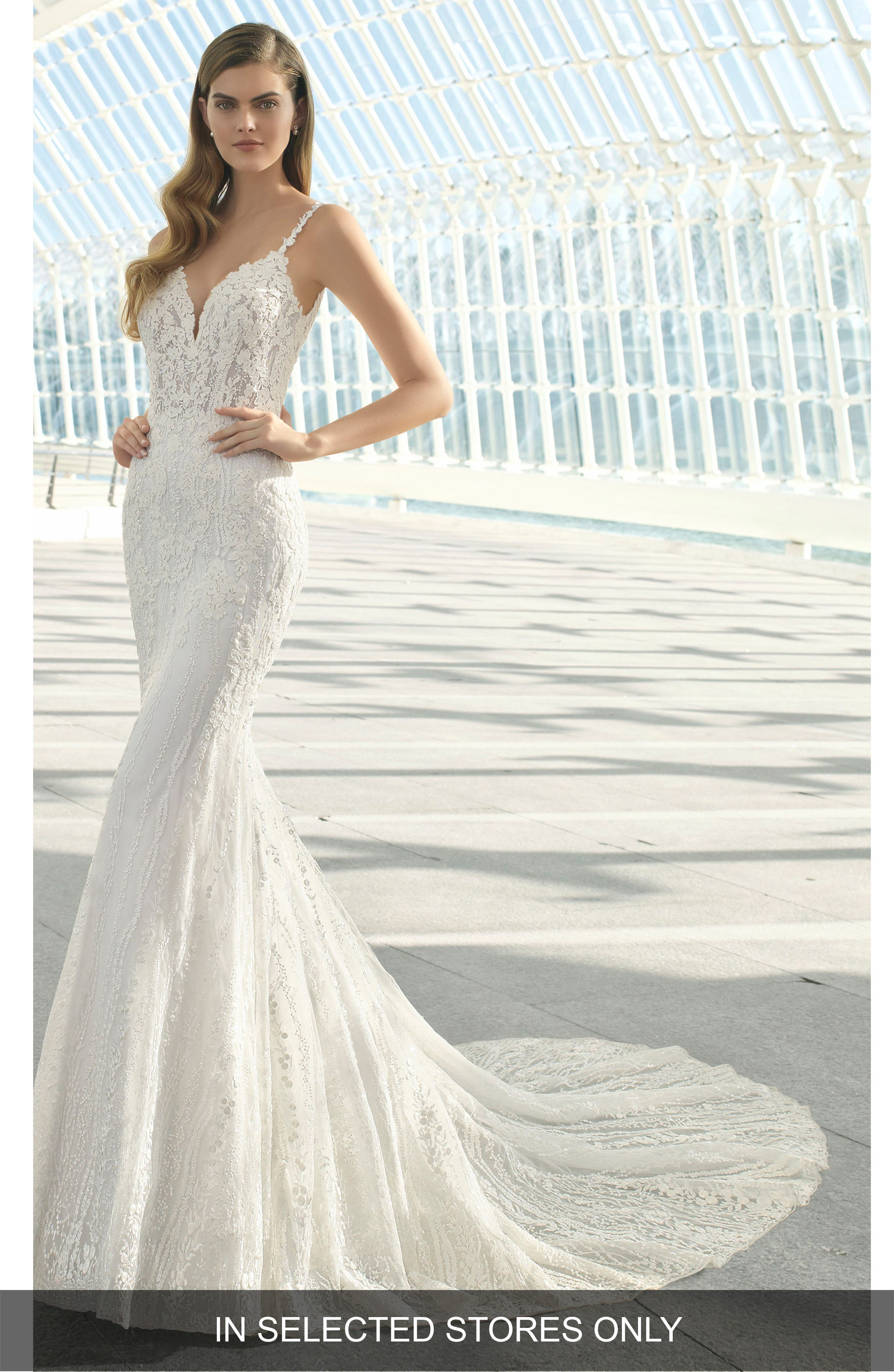 Rosa Clara Debrah Beaded Lace Trumpet Gown, Size IN STORE ONLY - White