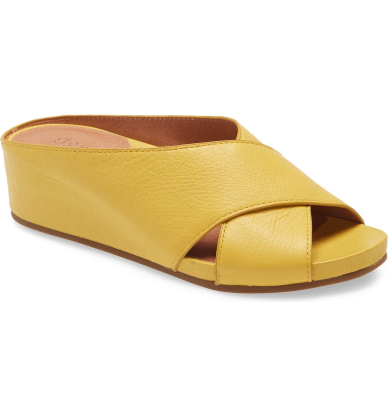 GENTLE SOULS SIGNATURE Giselle Wedge Slide Sandal, Main, color, PALE YELLOW LEATHER