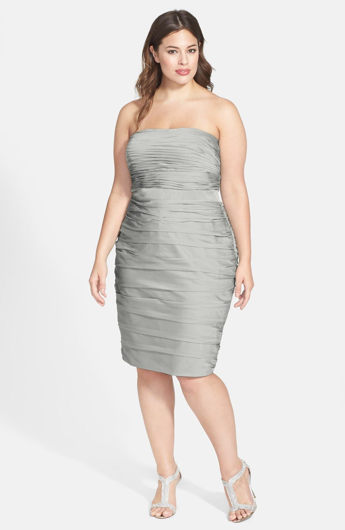 ,                             Ruched Strapless Cationic Chiffon Dress,                             Alternate thumbnail 8, color,                             020