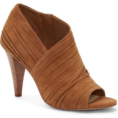 Vince Camuto Anara Ruched Peep Toe Bootie, Brown