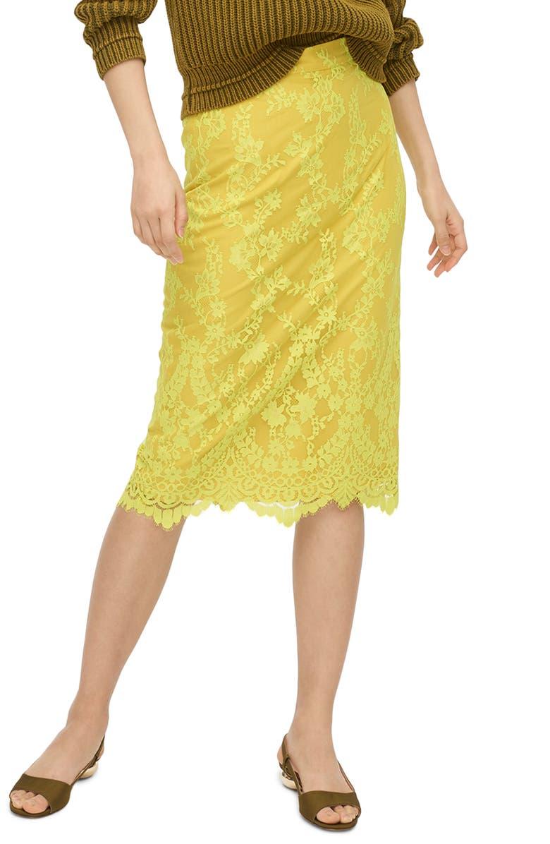 J.CREW Chantilly Lace Pencil Skirt, Main, color, BRIGHT KIWI