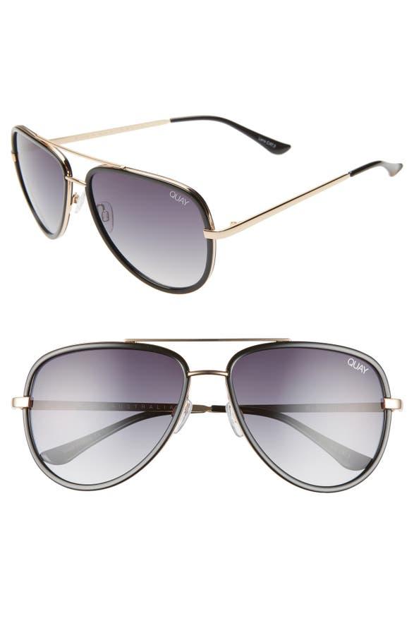 Quay All In 52mm Mini Aviator Sunglasses In Black/ Smoke Fade