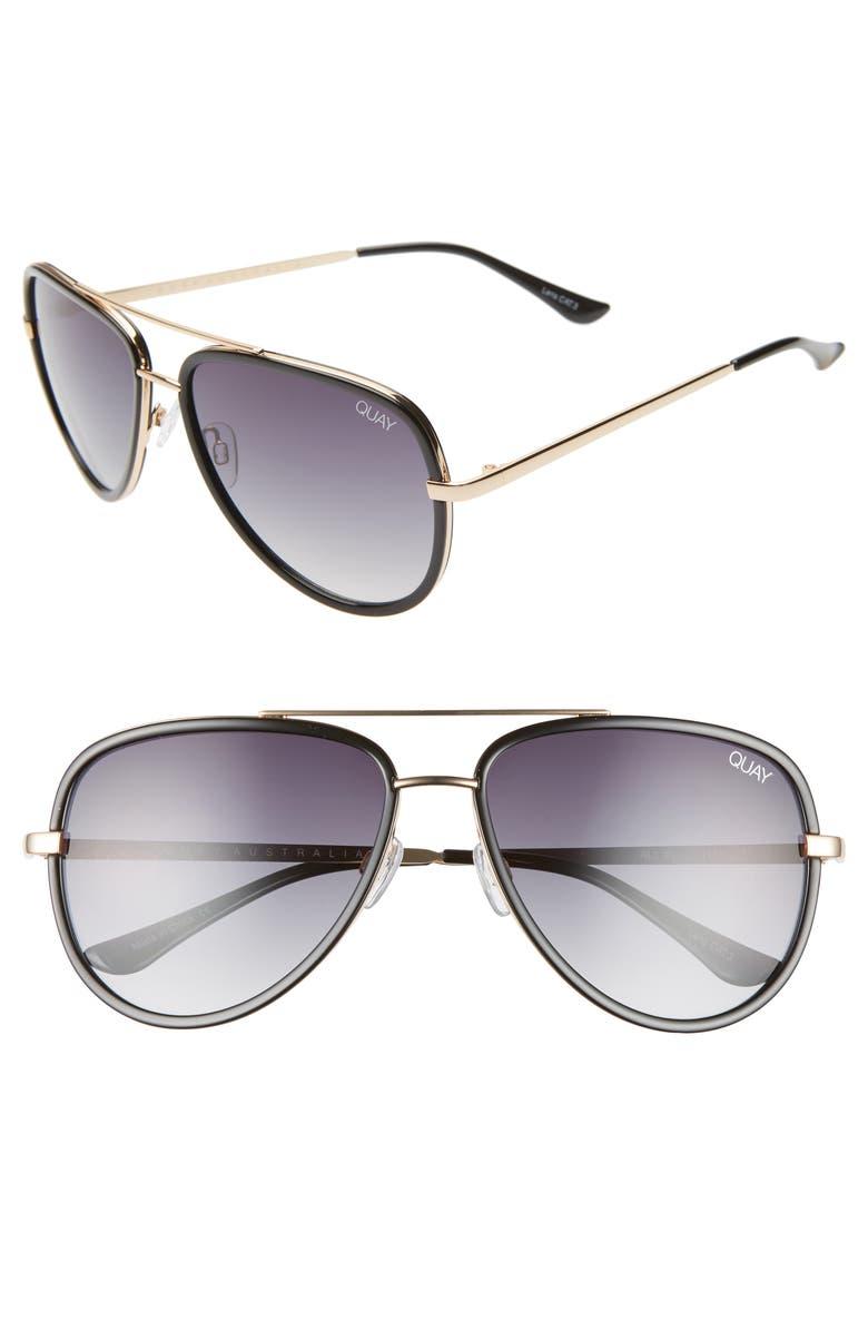 QUAY AUSTRALIA All In 56mm Aviator Sunglasses, Main, color, BLACK/ SMOKE FADE