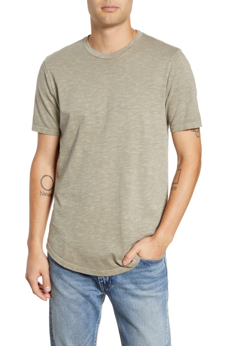 GOODLIFE Slub Slim Crewneck T-Shirt, Main, color, TIMBER WOLF
