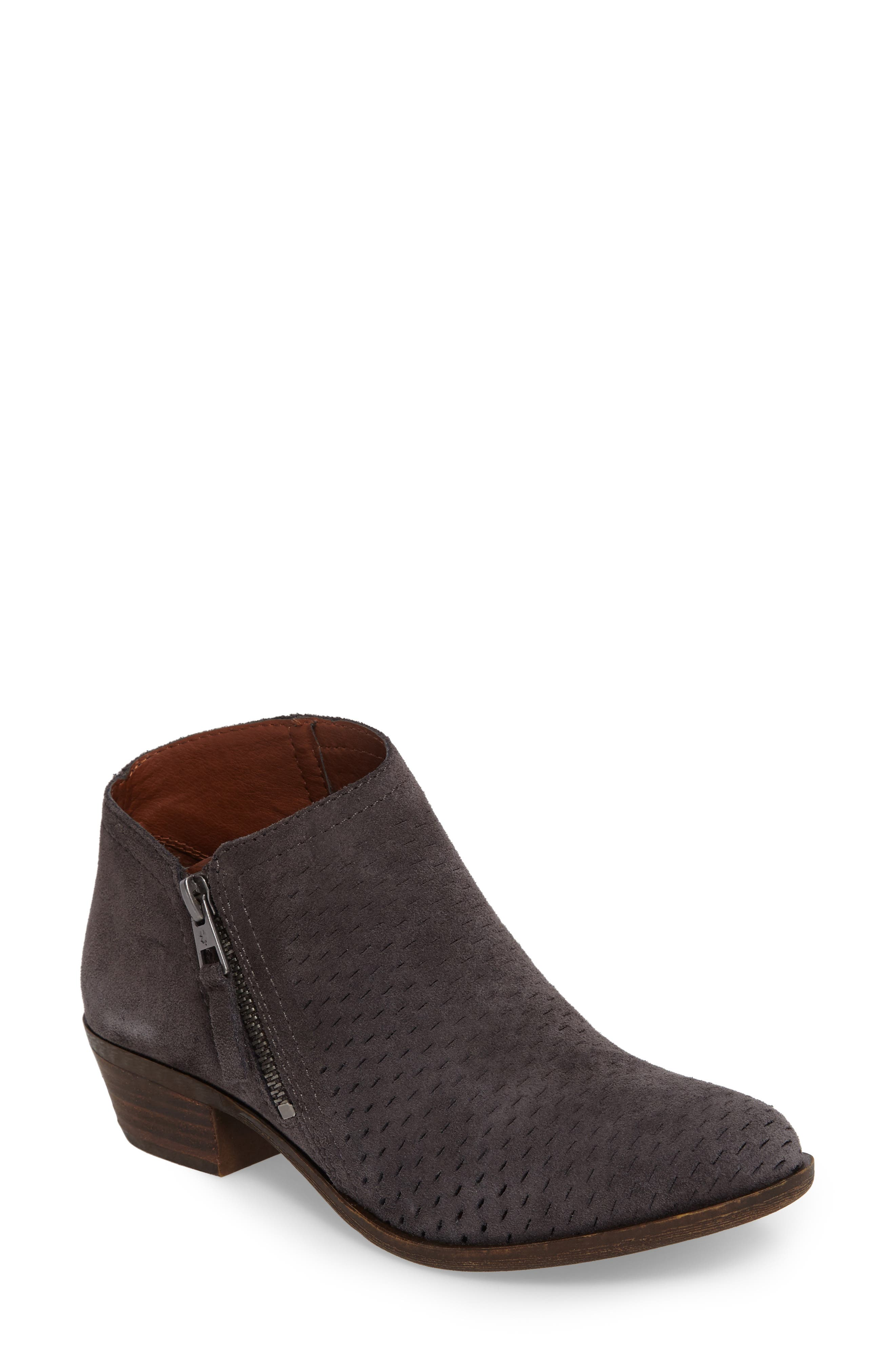 Lucky Brand Brielley Perforated Bootie- Grey